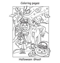 Coloring halloween cute ghost and witch friends vector