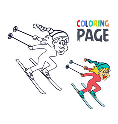 coloring page with women ice skiing player cartoon vector image