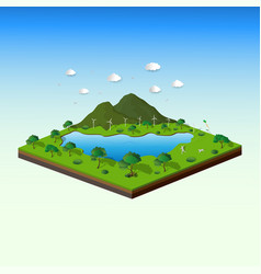 concept of isometric landscape with nature and eco vector image