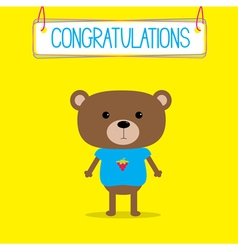 Congratulations card with cute bear vector image