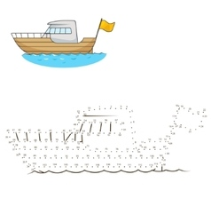 Connect dots to draw yacht educational game vector