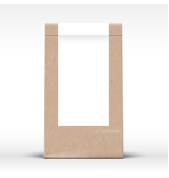 craft paper bag with clear white label template vector image