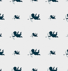Cupid icon sign Seamless pattern with geometric vector image