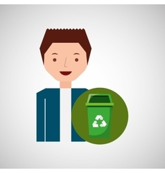 cute boy recycle ecology icon trash can vector image