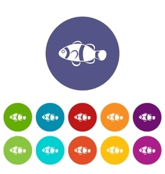Cute clown fish set icons vector image