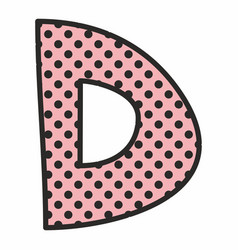 d alphabet letter with black polka dots on pink vector image