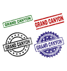 Damaged textured grand canyon stamp seals vector