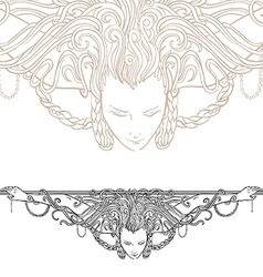 Decorative divider as vintage engraved woman vector image