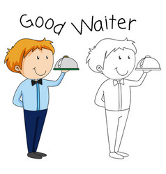 doodle waiter character with serving tray vector image