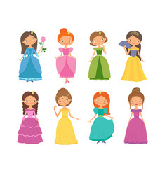 Fairy tale set of beautiful princesses vector