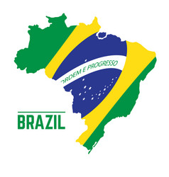 Flag and map of brazil vector