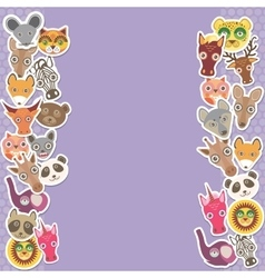 Funny Animals card template lilac background vector