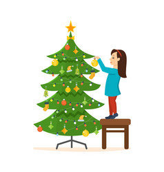 Girl decorated with new year christmas vector