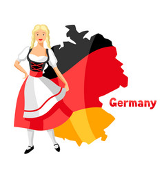 girl in national costume germany on map vector image