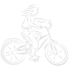 Girl on a bike sketch vector image