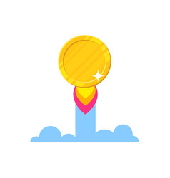 Golden coin starting icon vector
