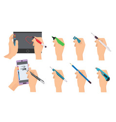 hands writing writers holding pen and pencil vector image