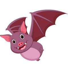 Happy bat cartoon flying vector