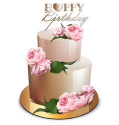 Happy birthday cake realistic anniversary vector