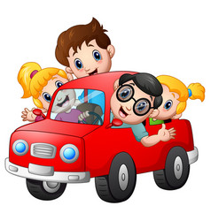 Happy family travelling with car vector