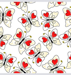 Heart butterfly pattern vector
