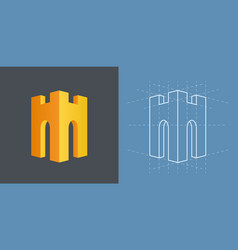 helmet and tower logo vector image
