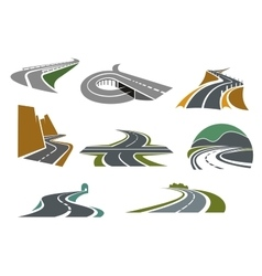 Highway and road icons for transportation design vector