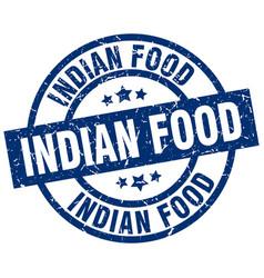 Indian food blue round grunge stamp vector