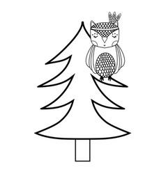 line ethnic owl animal in pine tree vector image