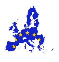 map of european union combined with eu flag vector image