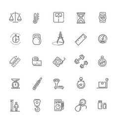 Measuring related web icon set - outline icon set vector