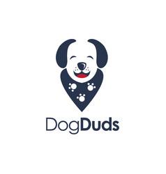 Minimalist dog wearing duds accessories logo icon vector