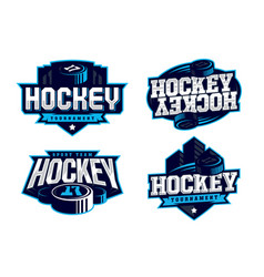 Modern professional hockey logo set for sport team vector