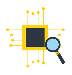 Motherboard circuit magnifying glass fintech vector