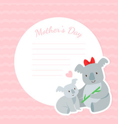 mothers day greeting card with mother koala and vector image