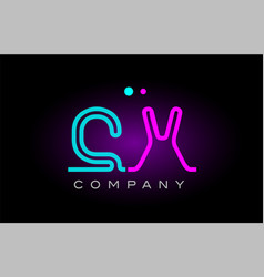 neon lights alphabet cx c x letter logo icon vector image