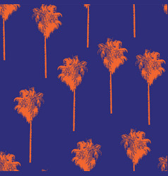 palm trees retro-style orange on a blue background vector image