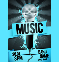 party flyer poster design template microphone vector image