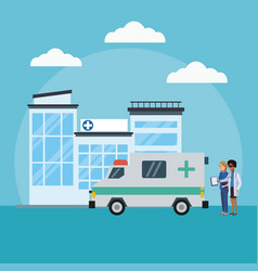 patient outside hospital vector image