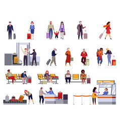 people airport set family travel registration vector image