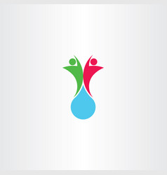 people and water drop logo icon symbol vector image
