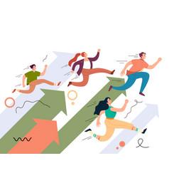 people teamwork characters running way forward vector image