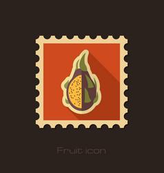 Pitaya flat stamp tropical dragon fruit vector