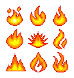 Pixel fire for games icons set vector