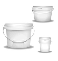 Plastic bucket of 3d realistic vector