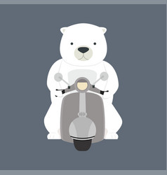polar bear riding motorbike vector image