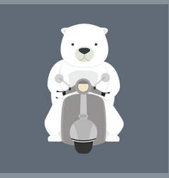 Polar bear riding motorbike vector