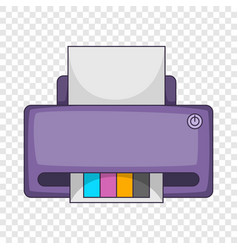 Printer with cmyk colored paper icon cartoon style vector