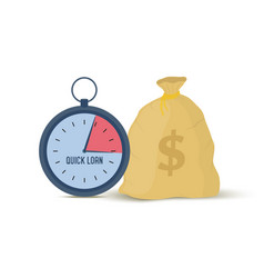 Quick loan - clock and money bag vector