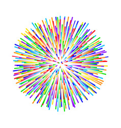 rainbow fireworks on white background vector image